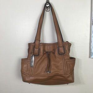 TIGNANELLO chestnut brown leather satchel